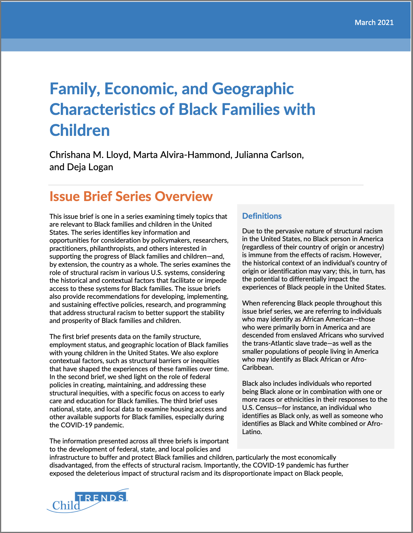 Black Families with Children Demographic Report