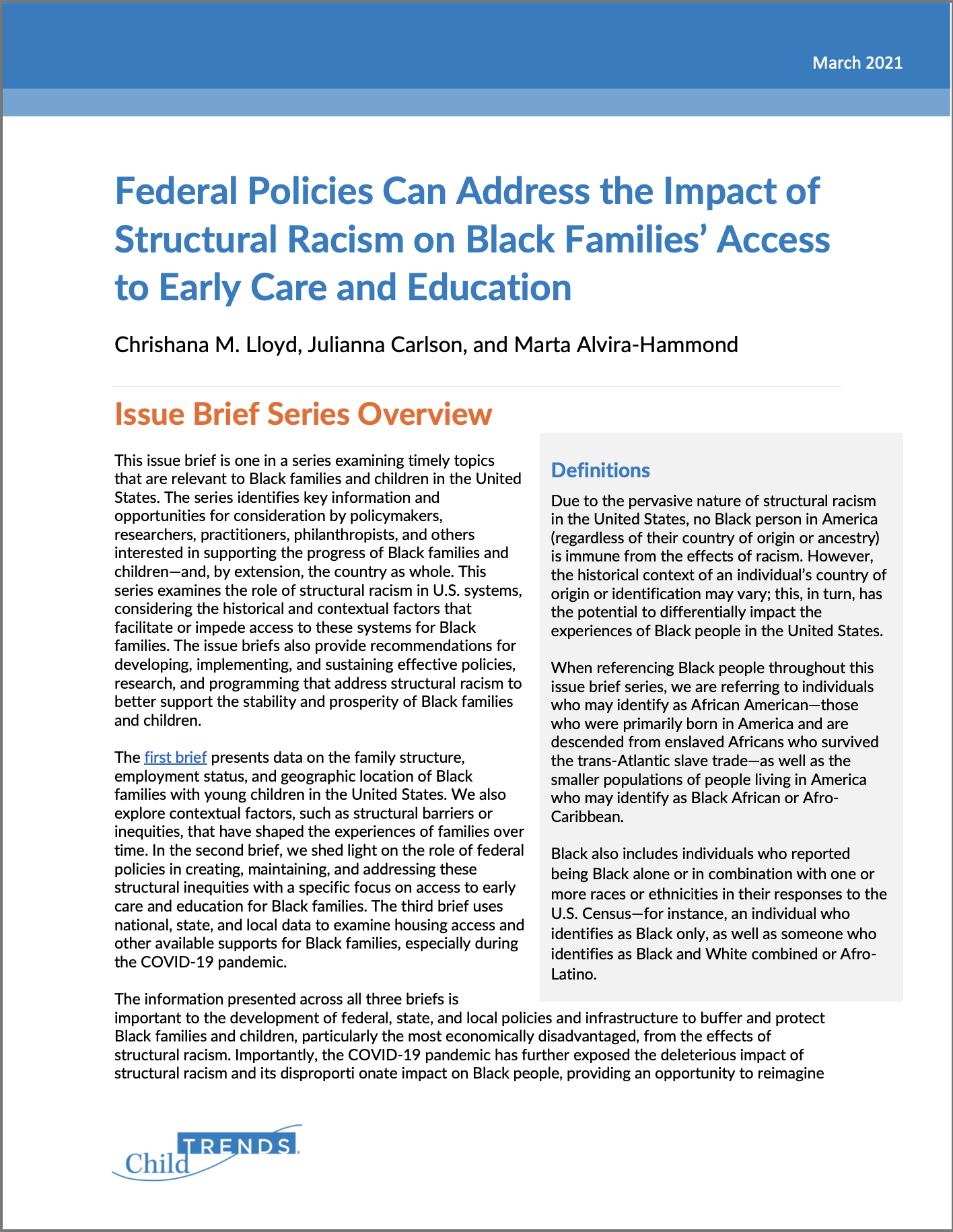 Equity in Access to Child Care report cover